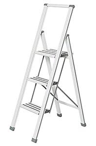 Wenko Escalera Plegable con 3peldaños, Aluminio, Color Blanco/Gris, 44x 127x 5,5cm, 601016100