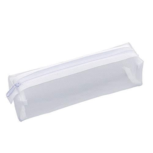 Maleta De Malla De Malla Transparente, Caja De Lápices Con Cremallera De Papelería De Estudiante Creativa Blanca