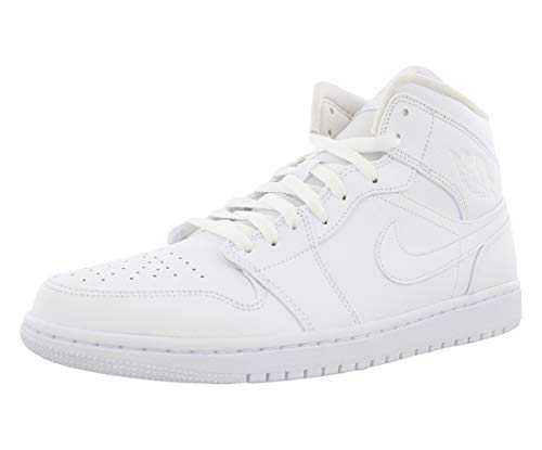 Nike Herren AIR Jordan 1 MID Basketballschuhe, Weiß (White/White/White 129), 46 EU