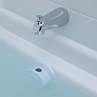 """SlipX Solutions Bottomless Bath Overflow Drain Cover Adds Inches of Water to Tub for Warmer, Deeper Bath (4"""" Diameter)"""