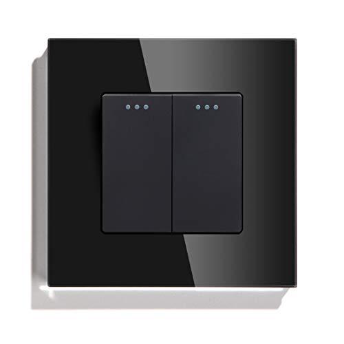 YOBAIH 2 Gang 1 Way 2 Way Button Button Interruptor Estándar Interruptor para el hogar Negro Blanco Dorado con el Panel de Cristal de Cristal para el hogar Conmutador (Color : Black, Size : 2Way)