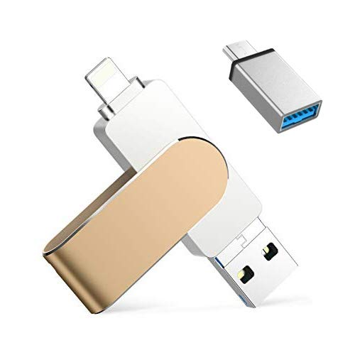 128GB Chiavetta USB per iPhone iPad Memoria USB 4 in 1 Memory Stick 3.0 Pen Drive per iOS Samsung HUAWEI OTG Android Smartphone Tablet PC Macbook Tipo C Porta (Oro)