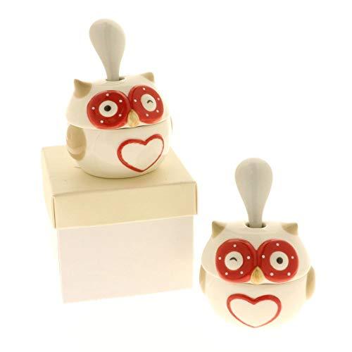 1 PZ GUFOLO Zuccheriera gufo in porcellana in scatola regalo BOMBONIERA