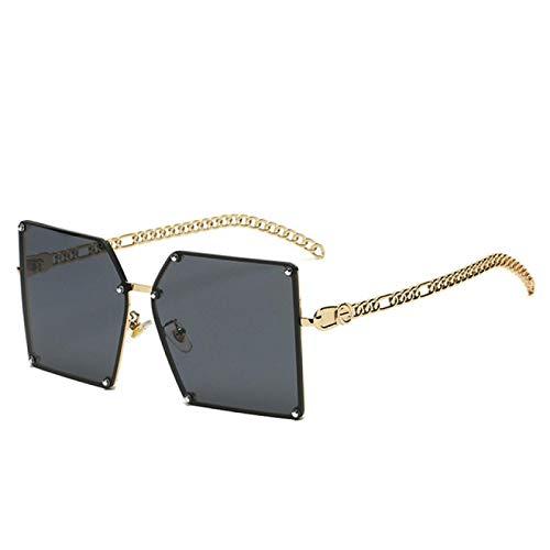 NJJX Gafas De Sol Cuadradas De Gran Tamaño A La Moda Para Mujer, Lentes De Color Teñidas, Gafas De Sol Retro Para Mujer, Cadena Elegante, Negro
