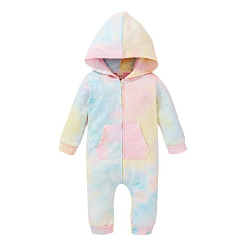 Newborn Baby Girl Boy Floral Bodysuit Long Sleeve Cotton Jumpsuit Hooded Romper Fall Winter Clothes (E-Pink, 6-9 Months)