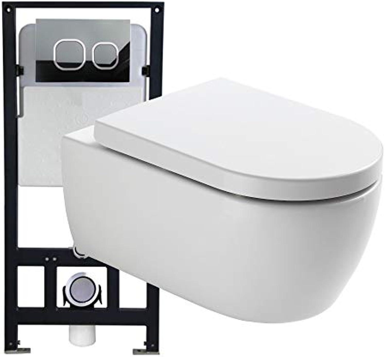 WC-Sparpaket 3  WC NT2039 und Soft-Close Sitz mit Vorwandelement G3004A und Bettigungsplatte vorne, Bettigungsplatte Modell 4112 wei matt