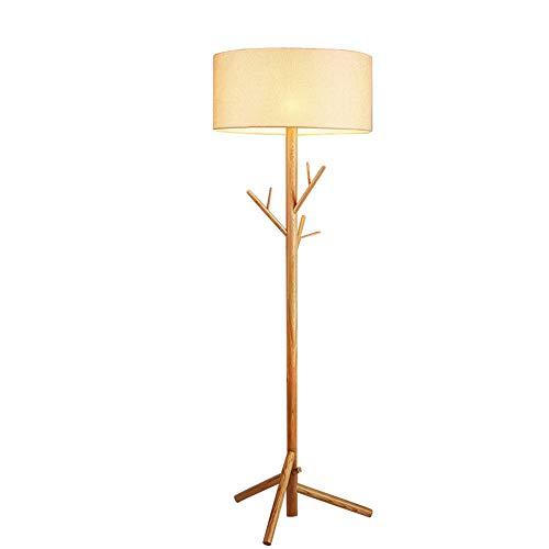 XZHU LED Creative Floor Lamps, Vintage Solid Wood Tree Lighting Decorative Fabric Reading Plug-in Standing Lamp Nordic Living Room Bedroom Study Floor Table Light