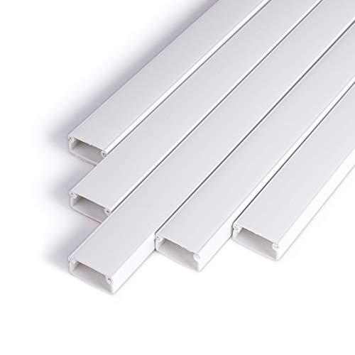 Canalina per cavi autoadesiva, bianca, 1 m (10 pezzi – 20 x 10 mm piccolo) – 10 m canalina per cavi con nastro adesivo in schiuma pronto per il montaggio a parete – 20 x 10 mm
