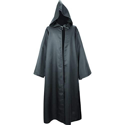 BEIXUNDIANZI Umhang mit Kapuze Herren Mittelalter Kleidung Mantel Gotik Ritter Cape Lange Robe Halloween Kostüme Unisex Cosplay Hexe Vampir ZZ-Black 1 XL