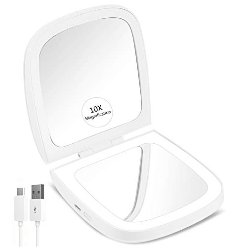"""CLSEVXY LED Lighted Travel Makeup Mirror, 1x/10x Magnification - Daylight LED, Rechargeable, Compact, Portable, 4"""" Folding Mirror for Travel and Purses"""