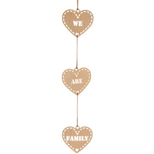 Spreukenband premium kwaliteit 100% emotioneel · decoratieve slinger hout · slinger met drie houten hartjes · hartslinger · cadeau-ideeën · houten hart slinger · wanddecoratie · houtdecoratie We Are Family