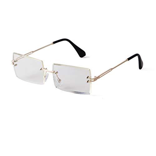 Gafas de sol de moda sin marco para mujeres y hombres, ultra pequeñas, retro, rectángulo gradient lens Rimless Eyewear, gafas de sol cuadradas transparentes
