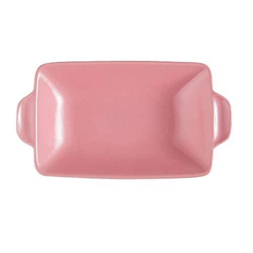 leader Plato rectangular de cerámica para hornear para asar lasaña, cacerola para horno, banquete y uso diario, color rosa