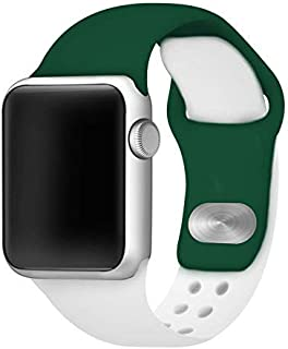 AFFINITY BANDS Two Tone Color Silicone Watch Band Compatible with Apple Watch - Green/White 38mm/40mm