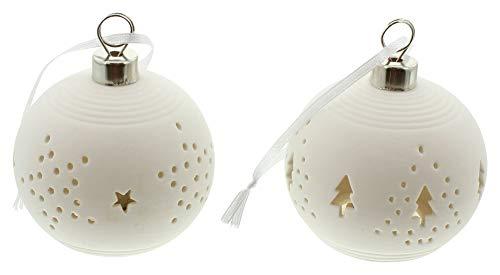 Frank Flechtware - Juego de 2 bolas de porcelana con luz led para colgar