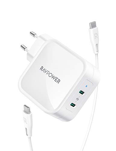 RAVPower USB C Ladegerät PD 90W USB C Netzteil mit GaN Tech, 2 Port PD Ladegerät USB C für MacBook Pro iPad Pro, Google Pixel, Nintendo Switch, iPhone 11 Pro Max X XS, Galaxy und mehr