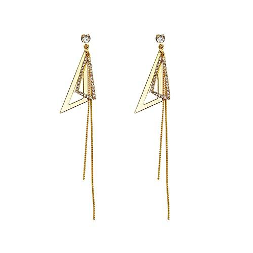 Owenqian Pendientes de Hoja de Cuentas Redondas Triangulares ahuecados a la Moda para joyería de Mujer y niña
