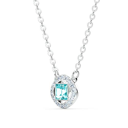Swarovski Women's Angelic Square Necklace, Brilliant Crystals with Rhodium Plated Metal, from the Amazon Exclusive Swarovski Angelic Square Collection