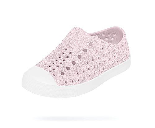 Native Shoes, Jefferson Bling Child, Kids Lightweight Sneaker, Milk Pink Bling/Shell White, 10 M US Toddler