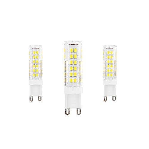 Bombillas LED G9 Equivalente a 9W Halógena de 90W Blanco Frío 6000K 900Lumen AC220-240V Ángulo de Haz de 360 ° Lámpara de Ahorro de Energía g9 No Regulable(Paquete de 3)[Clase Energética A ++]