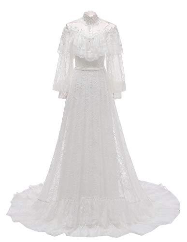 vannawong Damen Meerjungfrau Langarm Brautkleid Weiche Spitze Viktorianischen Stil Hohe Taille Brautkleid Illusion Beach Garden EU 52