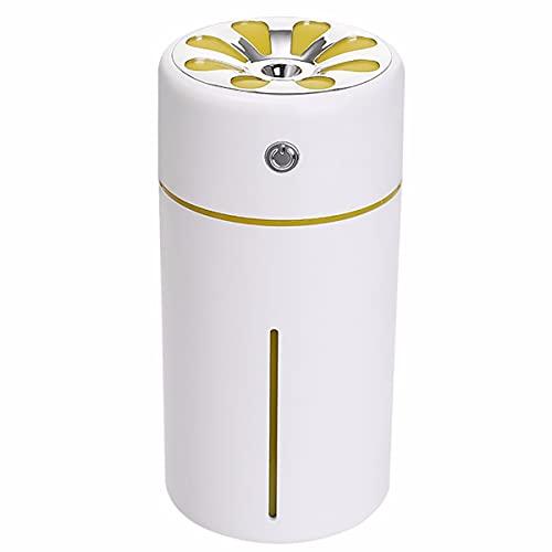 JJGS Humidificador, volumen de agua 360 ml, luz nocturna colorida, atomizador, temporizador de apagado, carga USB, coche, apto para dormitorio, oficina, regalo blanco