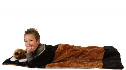 Foxxeo 11005-STD | Deluxe Schlafsack für Kinder Kinderschlafsack Bärenschlafsack Bären Plüsch 117 cm Bär Schlaf Sack brauner Tierschlafsack Tier Tiere Kind Kinder braun