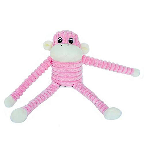 ZippyPaws - Spencer The Crinkle Monkey Dog Toy, Squeaker and Crinkle Plush Toy - Pink, Small