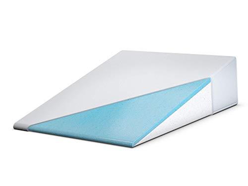 FitPlus Bed Wedge, Premium Cool Gel Infused Memory Foam Wedge 24' x 28' x 7.5' Plus 2 Year Warranty,...