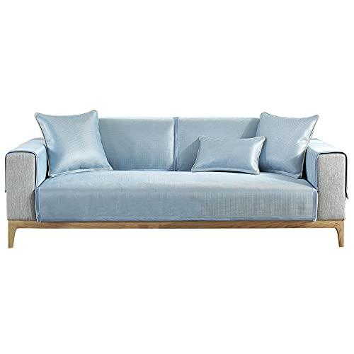 YUTJK Cubierta de sofá de Verano Fresco Monocromo,Europeo Fundas de Sofá,Dos Plazas Antideslizante Funda para Sofá,Cubre Sofá para Chaise Long Rinconera,Azul 1_70×210cm