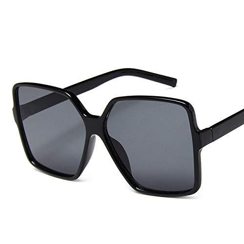 ZKYXZG Gafas de sol Fashion Women Oversize Sunglasses Gradient Plastic Brand Designer Female Sun Glasses UV400,Black Grey