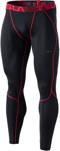TSLA Mens Compression Pants Running Tights Workout Leggings, Cool Dry Performance Boosting Baselayer, Zero(p16) - Red, Medium