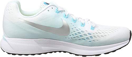Nike Wmns Air Zoom Pegasus 34, Zapatillas de Running para Mujer, Multicolor (White/Metallic Silver/Glacier Blue 104), 36.5 EU