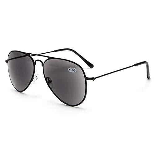 VEVESMUNDO Gafas Sol de Lectura Presbicia Aviador Proteccion UV Grande Marco de Metal y Bisagras con Funda para al aire libre Anteojos de Leer Graduadas (Gafas de lectura de sol, 1.5)