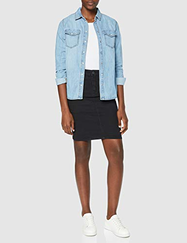 Vero Moda Vmhot Nine HW Dnm Pencil Skirt Mix Noos Falda, Negro (Black Black), 34 (Talla del Fabricante: X-Small) para Mujer