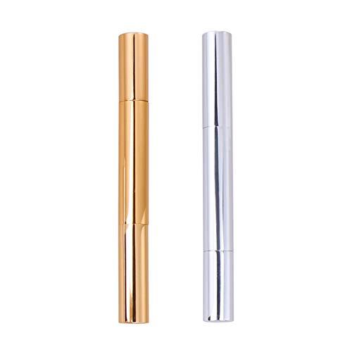 PIXNOR 3 Ml Leeres Nagelöl Twist Pen Kosmetikbehälter Lipgloss Pinsel Applikatoren Wimpernwachstum Flüssigkeitsröhre Golden Und Silber