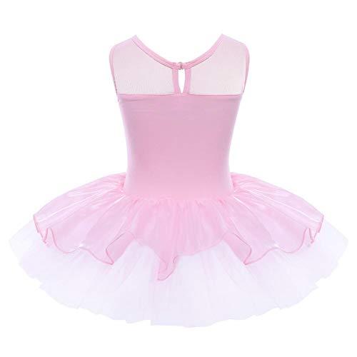 WXJWPZ Traje de Fiesta de Bailarina para niñas, Vestido de Flores Reflectantes con Lentejuelas, Ropa de Baile, Leotardo de Gimnasia para niños, Vestido de tutú de Ballet
