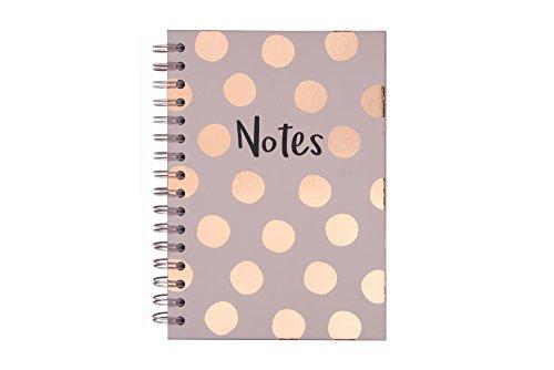 Tri-Coastal Design – Cuaderno Espiral con hojas de rayas con tapa Rígida decorada en papel de aluminio O Glitter – 21x14x2 cm, Ideal para llevar en Bolsa O en el Mochila (dots)