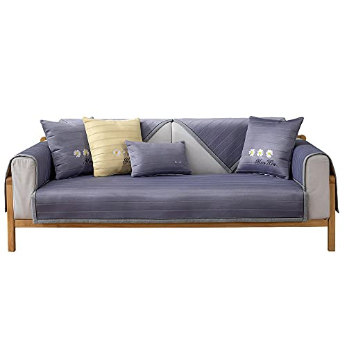 YUTJK Cojín de sofá de Seda Helado Fresco para el Verano,Funda de Sofá Resistente a Rayones Funda de Cojín de Protección para Mascotas Funda de Sofá Antisuciedad,Gris_70×120cm