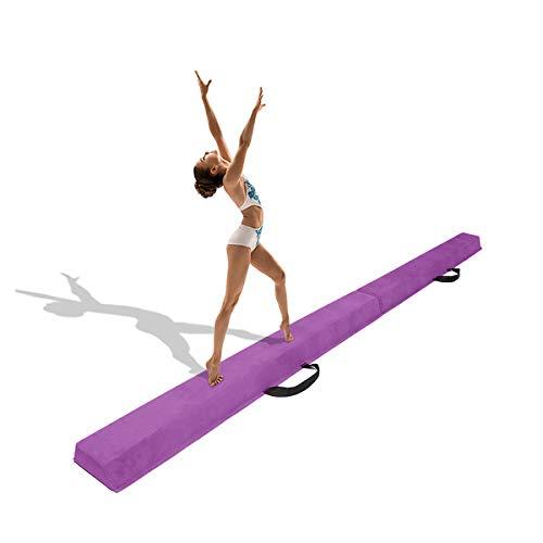 Minetom 180/240/275 cm Balken Turnen Balancierbalken Klappgymnastik Schwebebalken Gymnastik Balance-Balken Schwebebalken Faltbar für Kinder (Lila, 240.00)