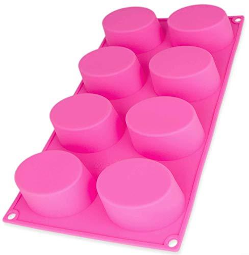 BlueFox Seifenformen aus Silikon zum Gießen, Seifenform Seife, Seifengießform für runde Seifen und Kerzen, Bodymelt, Gips-Form, Seifenstempel, Soap,Gießform, DIY, Farbe: Rosa
