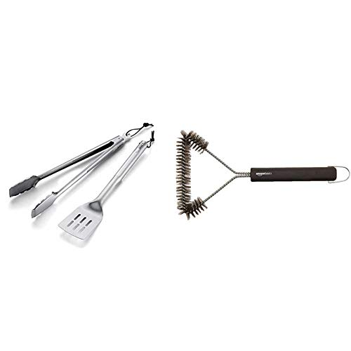 Weber® Basic Besteckset, 2-tlg. & Amazon Basics - Grillbürste, dreieckig, 30,5cm