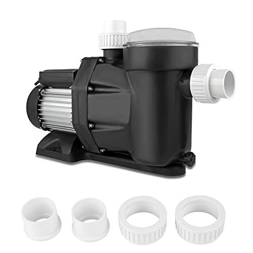 everfarel Bomba de filtro con filtro prefiltro y colador, bomba de piscina 28800 l/h, 1,75 CV, 1300 W, bomba de circulación IP 54
