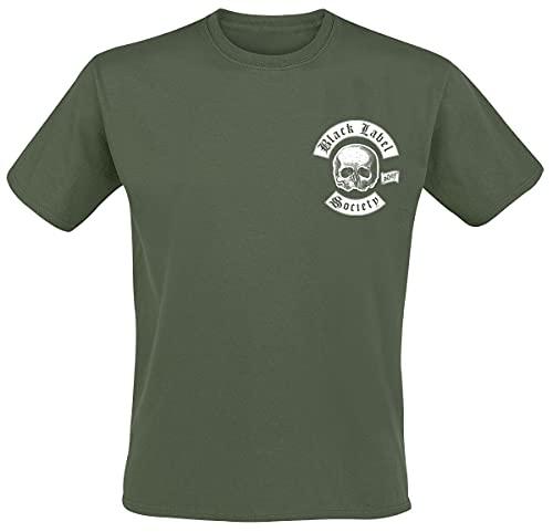 Black Label Society Skull LogoPocket Uomo T-Shirt Verde Oliva M 100% Cotone Regular