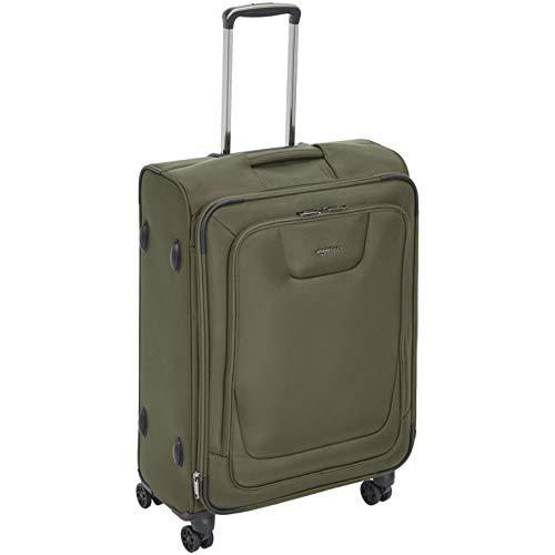 AmazonBasics Expandable Softside Spinner Luggage Suitcase With TSA Lock And Wheels - 27.7 Inch, Olive