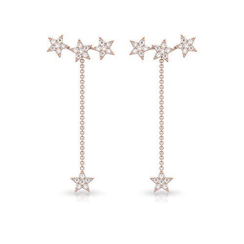 0,48 Karat Pave IGI zertifizierter Diamant Stern lange Ohrringe, HI-SI Diamant Himmlische Tropfen baumeln Ohrring Frauen Einfädler Gold Kette Statement Ohrring Geschenk 18K Roségold, Paar
