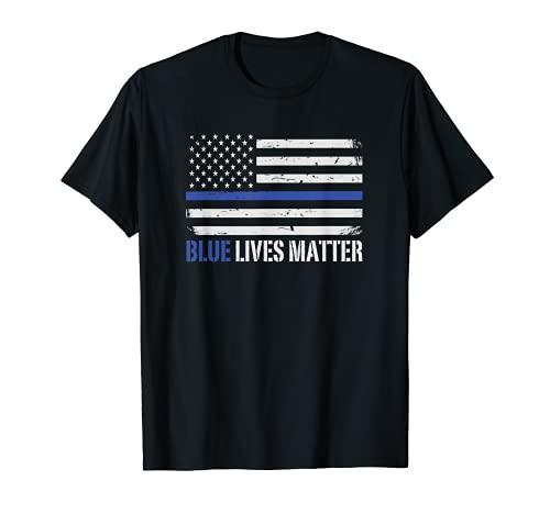 Blue Lives Matter Thin Blue Line American Flag Cop T-Shirt