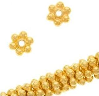 Beautiful Bead 4mm 18K Gold Vermeil Bali Daisies Spacers Beads for Bracelets DIY Jewelry Making (About 100pcs )