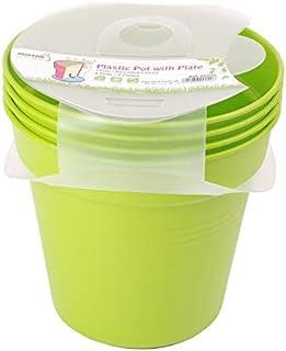 وعاء زرع بلاستيك بالطبق من مينترا، 15سم، عبوة 4، أخضر فاتح