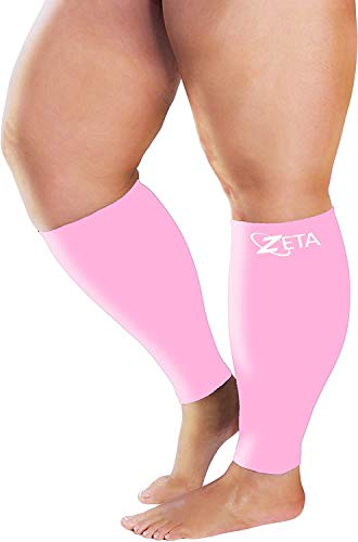 Zeta Sleeve XXL Wide Plus Size Calf Compression, Soothing Comfy Gradient Support, Prevents Swelling, Pain, Edema, DVT, Large Cuffs, Stretch to 26 Inches, Unisex, for Nurses, Seniors, Flights (Pink)